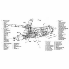 Sky Lab Cutaway Art Poster View 2 24in x36 in