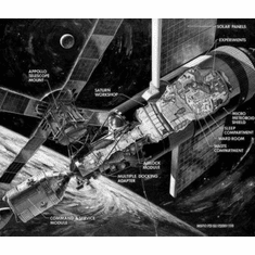 """Sky Lab Cutaway Black and White Poster 24""""x36"""""""