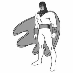 "Space Ghost Black and White Poster 24""x36"""