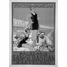 "Spain Tourism Advertising  Black and White Poster 24""x36"""