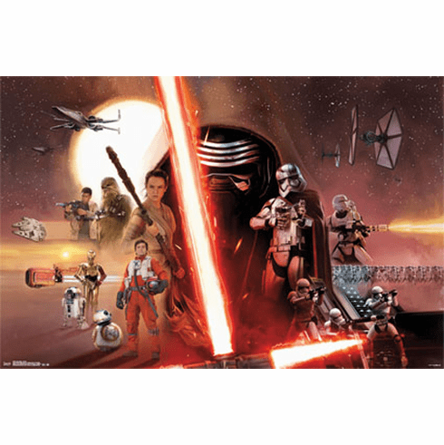 Star Wars The Force Awakens Movie Poster All Character Collage 22x34