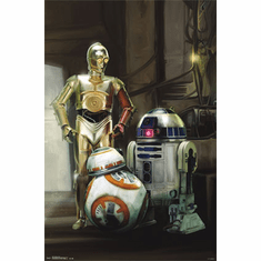 Star Wars The Force Awakens Movie Poster Droids 22x34