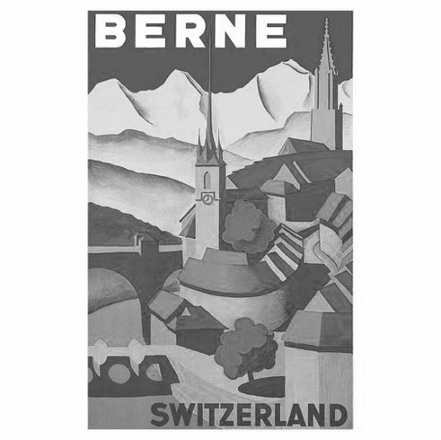 "Switzerland Berne Black and White Poster 24""x36"""