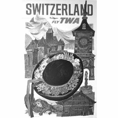"Switzerland Tourism Black and White Poster 24""x36"""