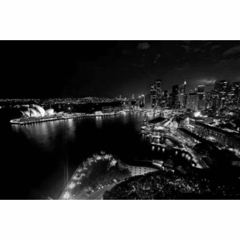 "Sydney Skyline Black and White Poster 24""x36"""