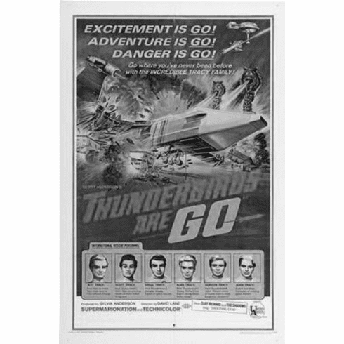 """Thunderbirds Are Go Black and White Poster 24""""x36"""""""
