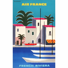 Travel Agency Art French Riviera Air France 8x10 PrintArt  Photo