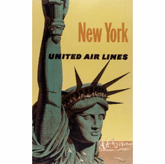 Travel Agency Art New York United Air Lines 8x10 PrintArt  Photo