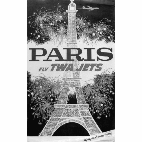 "Twa Airlines Paris Eiffel Tower Black and White Poster 24""x36"""