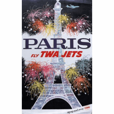 Twa Airlines Paris Eiffel Tower Poster 24in x36in