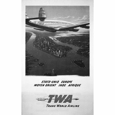 "Twa Arilines Manhattan Black and White Poster 24""x36"""