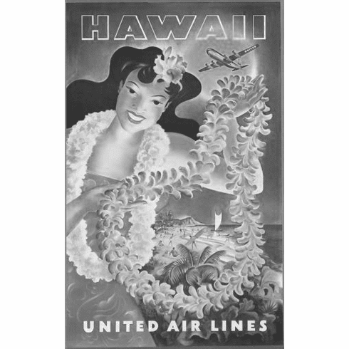 """United Airlines Hawaii Black and White Poster 24""""x36"""""""