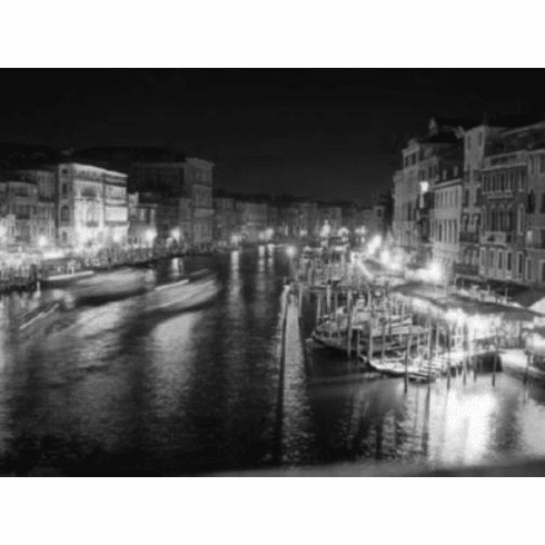 "Venice At Night Black and White Poster 24""x36"""