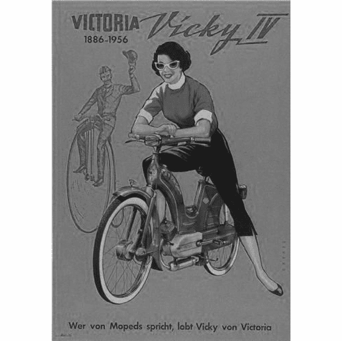 """Vicky Motorcycle 1956 Black and White Poster 24""""x36"""""""