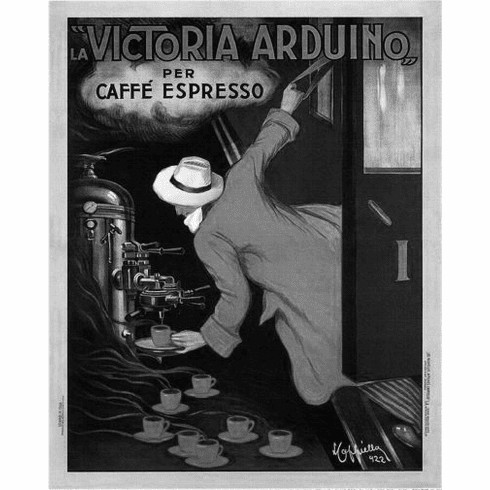 "Victoria Arduino Coffee 1922 Black and White Poster 24""x36"""