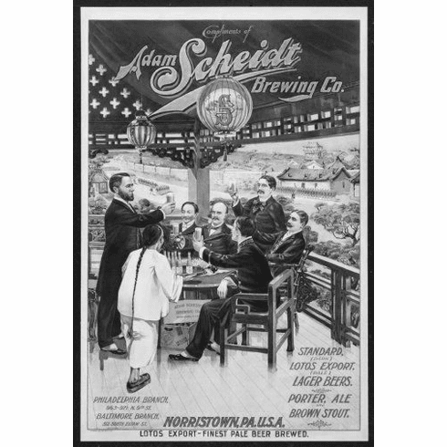 "Vintage Beer Hall Black and White Poster 24""x36"""