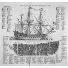 """Warship 18Th Century Black and White Poster 24""""x36"""""""