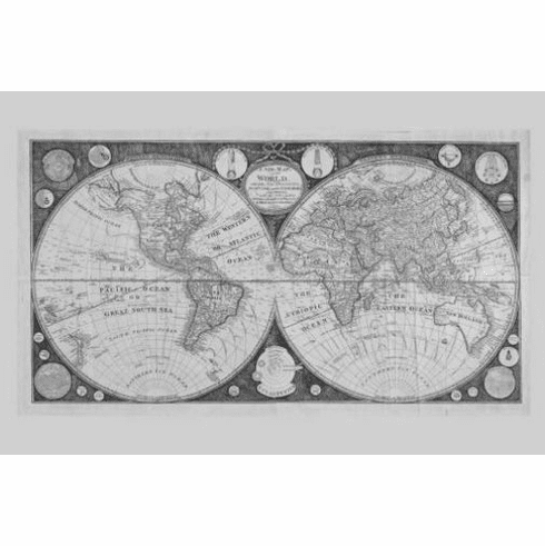 "World Map 1799 Black and White Poster 24""x36"""