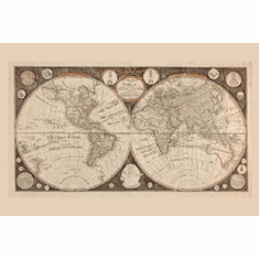 World Map 1799 Poster Historic Geography Art 24inx36in