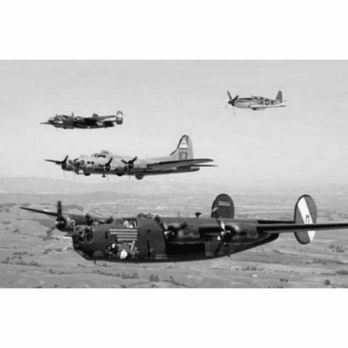 "Ww2 Plane Formation Black and White Poster 24""x36"""