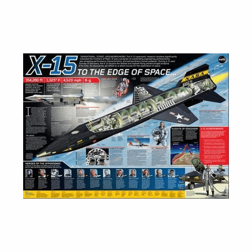 X15 Cutaway Art Poster Color Illustration 24in x36 in