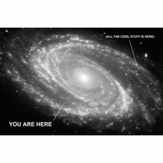 "You Are Here Galaxy Photo Black and White Poster 24""x36"""