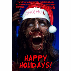 Zombie Christmas Greetings Poster UNIQUE WEIRD 24inx36in