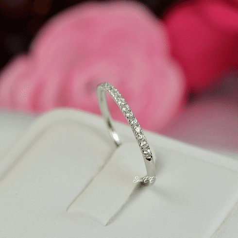 0.18ct Half Eternity Wedding Band Stack Promise Ring Diamond Simulated 925 Sterling Silver Anniversary Ring