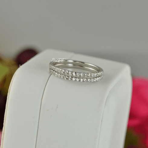 0.36ct Half Eternity Wedding Band Stack Promise Ring Diamond Simulated 925 Sterling Silver Anniversary Ring