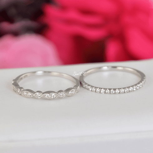 0.44ct Half Eternity & Art Deco Wedding Band Stack Promise Ring Diamond Simulated 925 Sterling Silver Anniversary Ring