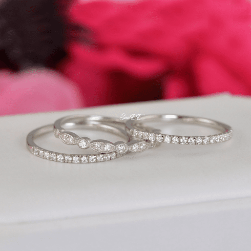 0.62ct Half Art Deco & Eternity Wedding Band Stack Promise Ring Diamond Simulated 925 Sterling Silver Anniversary Ring