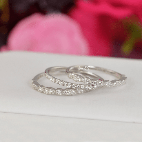 0.7ct Half Eternity & Art Deco Wedding Band Stack Promise Ring Diamond Simulated 925 Sterling Silver Anniversary Ring