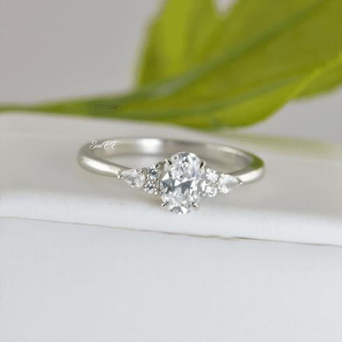 1.2ct Oval with Marquise Promise Ring Diamond Simulated 925 Sterling Silver Wedding Ring