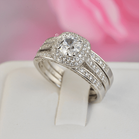 2.61ct Double Halo Cushion Cut with Heart Bridal Wedding Engagement Ring Diamond Simulated 925 Sterling Silver Anniversary Rings