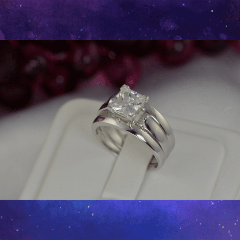 2.7ct Princess Cut with 2 Plain Bands Bridal Wedding Engagement Ring Diamond Simulated 925 Sterling Silver Anniversary Rings