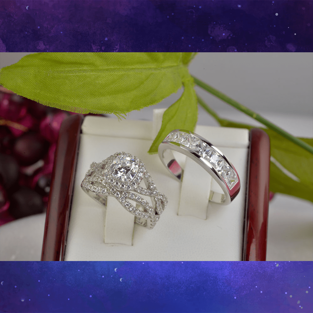 2ct Couple Halo Cushion Cut with Twisted Band Bridal Wedding Engagement Ring Diamond Simulated 925 Sterling Silver Anniversary Rings