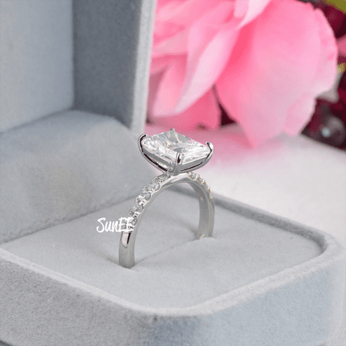 3.66ct Radiant Cut Bridal Wedding Engagement Ring Diamond Simulated 925 Sterling Silver Anniversary Rings