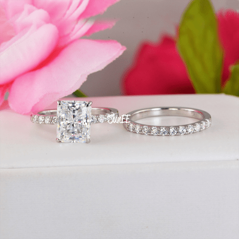 3.88ct Radiant Cut with Half Eternity Band Bridal Wedding Engagement Ring Diamond Simulated 925 Sterling Silver Anniversary Rings