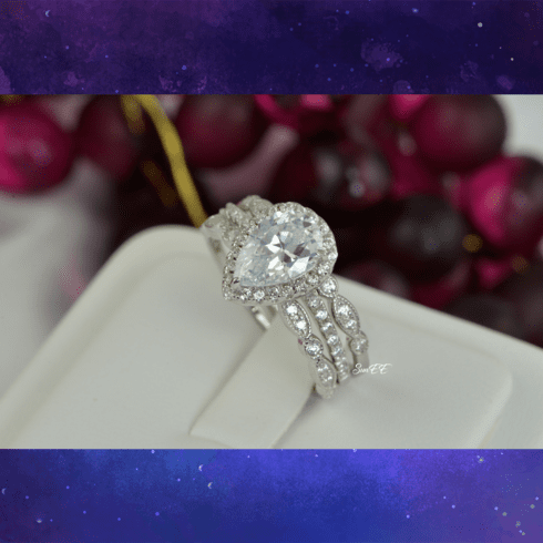 3.8ct Halo Pear Cut Bridal Wedding Engagement Ring Diamond Simulated 925 Sterling Silver Anniversary Rings