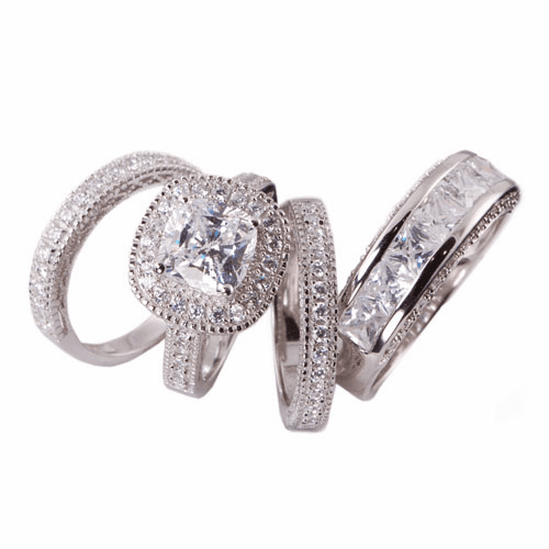 4 pcs Wedding Engagement Ring Set SKU:00106