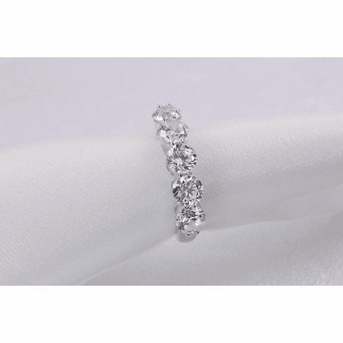 5 Stone Wedding Band, 2.3ct Bridal Ring Diamond Simulated Engagement Ring Half Eternity Stacking Ring Sterling Silver SKU:00145