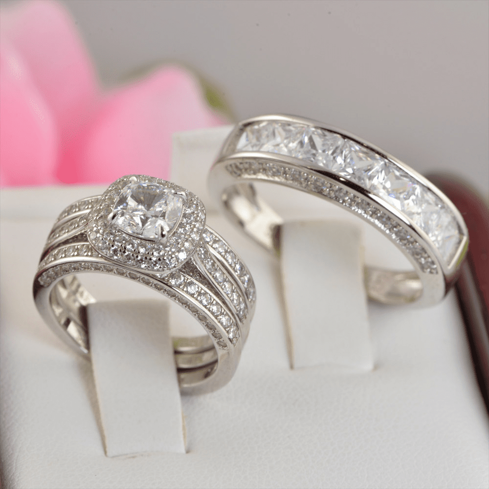 Couple 2.61ct Double Halo Cushion Cut Bridal Wedding Engagement Ring with Men's Ring Diamond Simulated 925 Sterling Silver Anniversary Rings