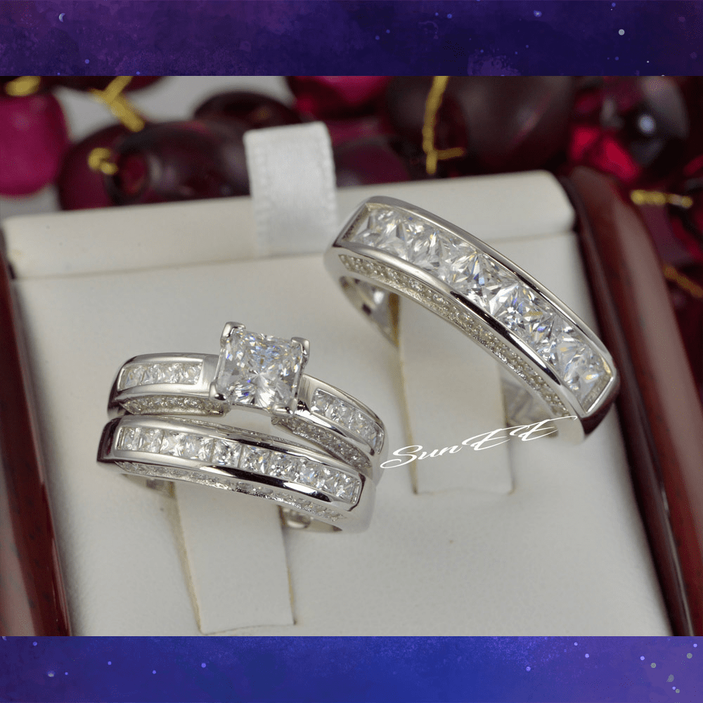His Hers 2.75ct Princess Cut Bridal Wedding Engagement Ring Diamond Simulated 925 Sterling Silver Anniversary Rings
