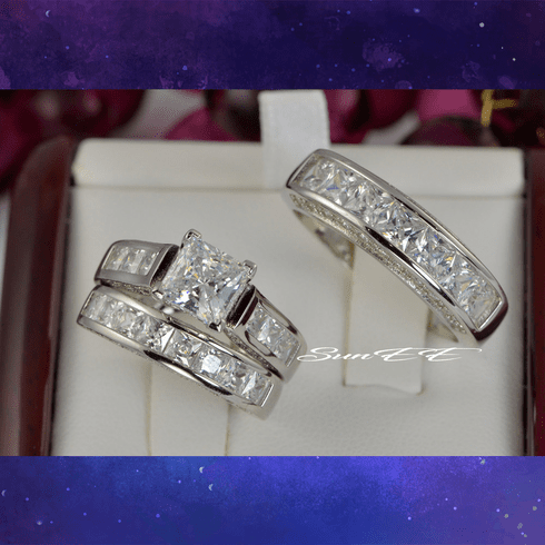 His Hers 4.35ct Princess Cut Bridal Wedding Engagement Ring Diamond Simulated 925 Sterling Silver Anniversary Ring