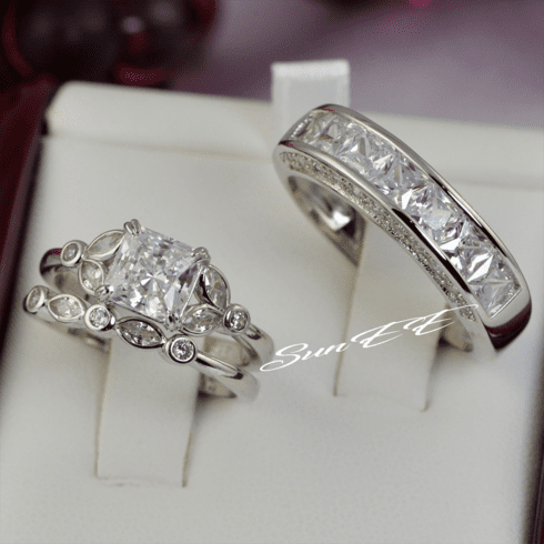 His Hers Art Deco Couple Wedding Ring Diamond Simulated 925 Sterling Silver Anniversary Engagement Ring