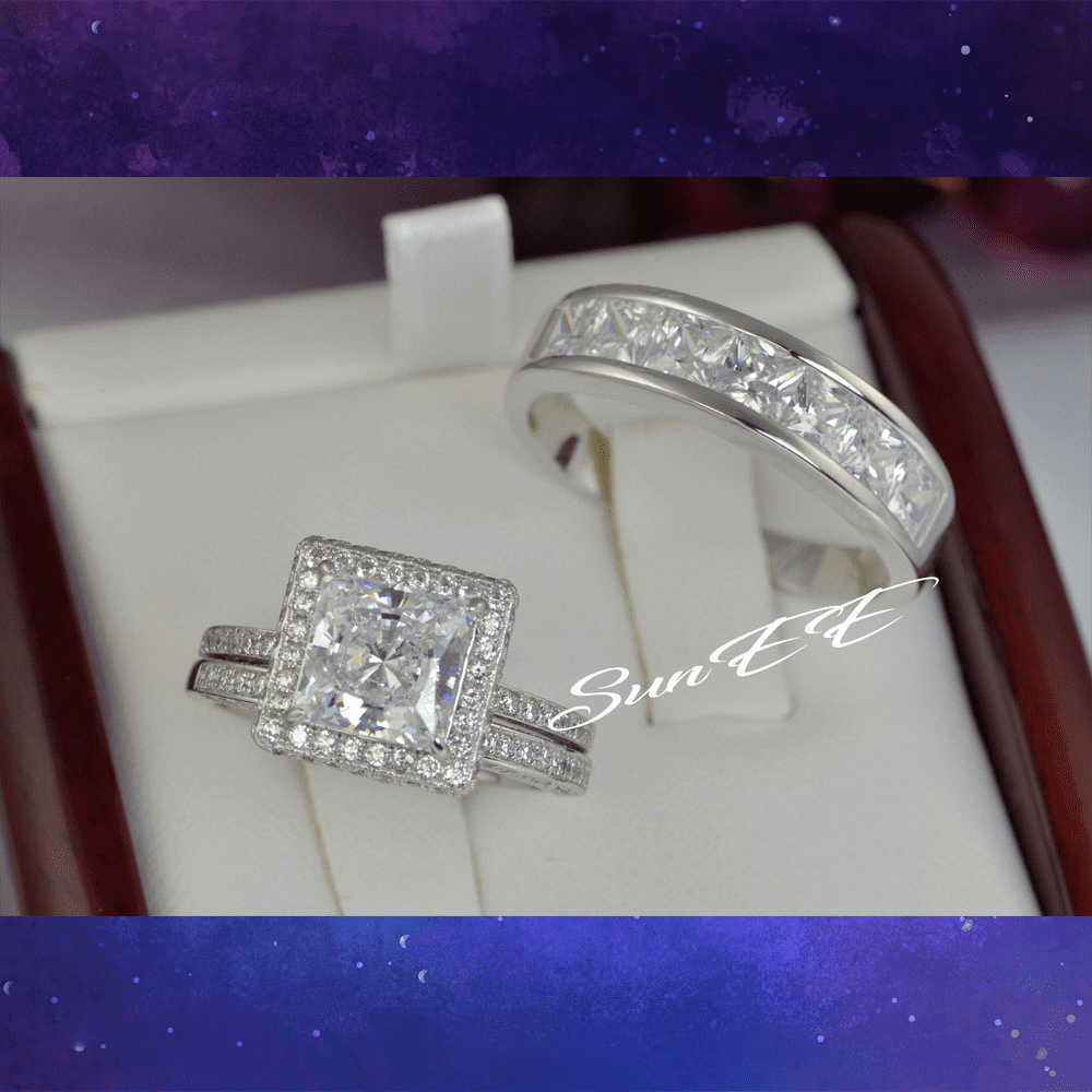 His Hers Halo Princess Cut Bridal Wedding Engagement Ring Diamond Simulated 925 Sterling Silver Anniversary Ring