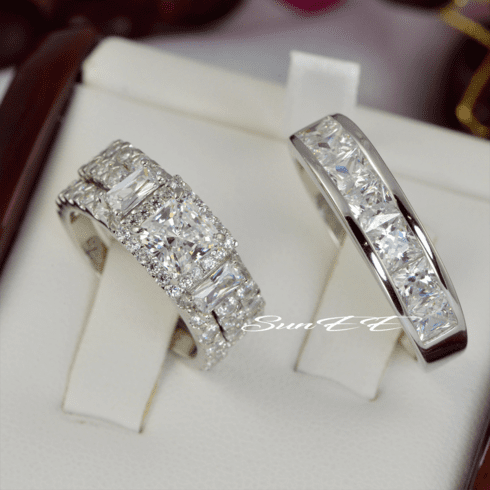 His Hers Halo Princess Cut with Baguette Wedding Set Engagement Ring Wedding Band Diamond Simulated 925 Sterling Silver Anniversary Rings