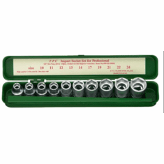 FPC 1/2dr. 10pc. Thinwall Impact Socket Set, 4WGS-10K