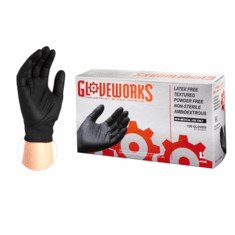Gloveworks Black Nitrile Industrial Latex Free Disposable Gloves, XL Size,BKXL