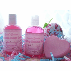 Bubble Bath, Body Lotion, and Heart Soap Gift Set